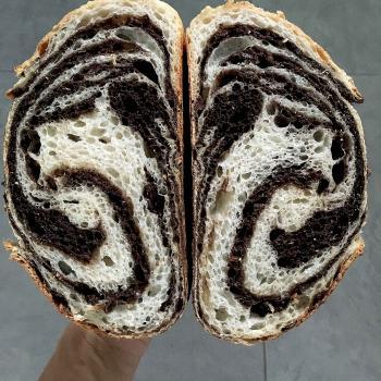 Autumn Panettone, Donut, Chocolate laminated Sourdough, cinnamon roll first slice
