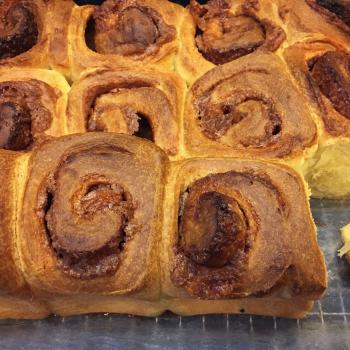 Autumn Panettone, Donut, Chocolate laminated Sourdough, cinnamon roll second slice