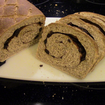 Bubbles Whole Wheat Cinnamon Raisin Swirl Bread first slice