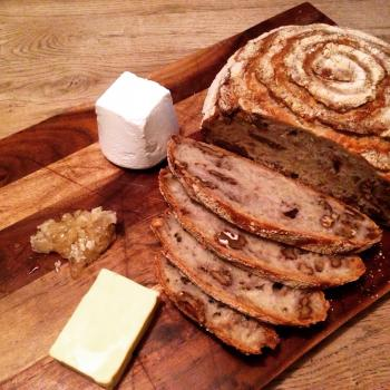 Elvis Rustic Boule, Foccacia, Cheddar and Marmite, Walnut second slice