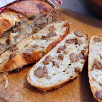 Emerson Sausage Bread first slice