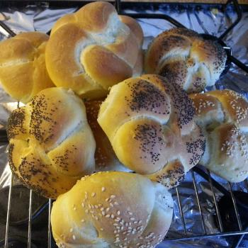 Honey Bunny Sourdough Bagels and rolls first slice