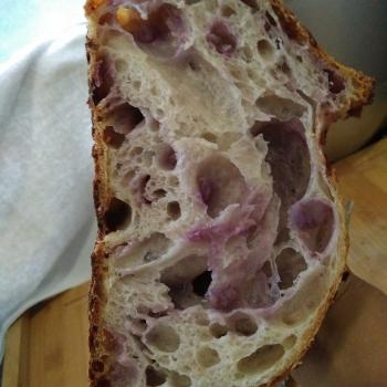 Pluto  Sourdough bread with purple sweet potato  first slice