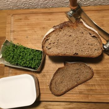 Robert Spelt whole grain loaf with buckwheat first slice