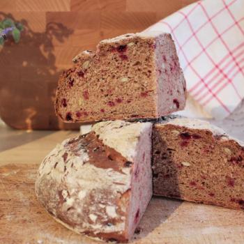September starter Sourdough beetroot bread first slice