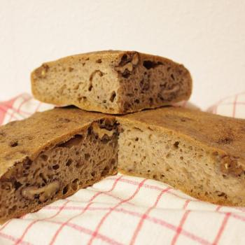 September starter Sourdough walnut flatbread second slice