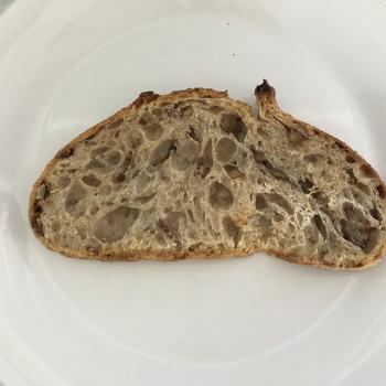 Sophia walnut spelt t80 sourdough loaf first slice
